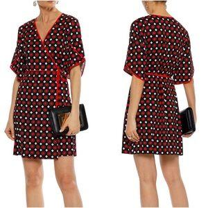 Diane von F Cinnamon Geometric Kimono Sleeve Wrap